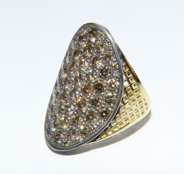 18ct Yellow Gold crownwork shank shield ring with champagne diamonds (4.62cts)
